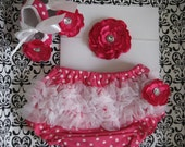 Baby girls hot pink ruffle bloomers, diaper cover 0-6 month with matching hot pink baby shoes, matching flower headband Great Photo prop