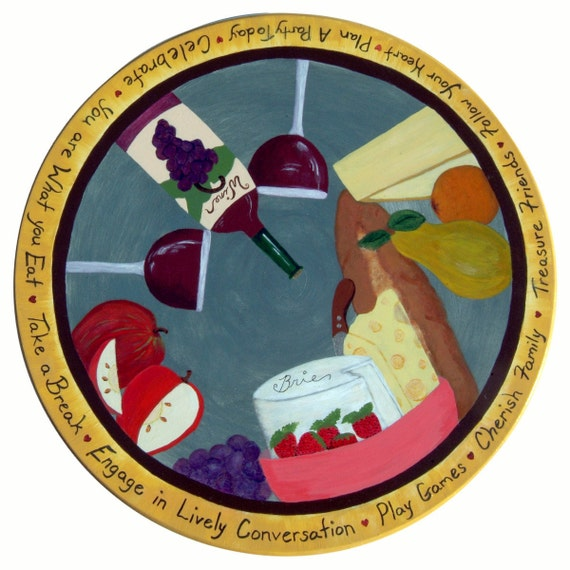 "18"" Lazy Susan with Wine and Cheese Motif"