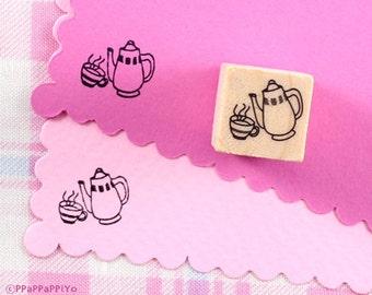 teacup & tea kettle Rubber Stamp