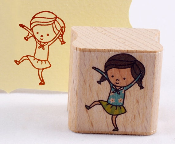 50% OFF SALE dancing girl Rubber Stamp