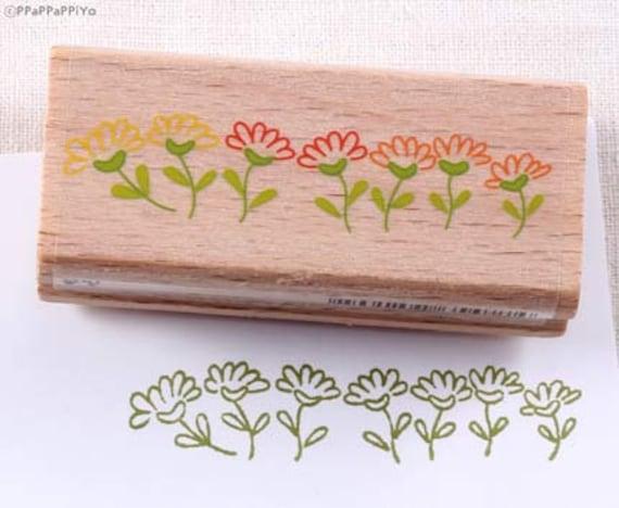 flower garden Rubber Stamp