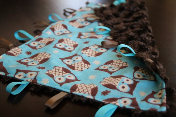 Baby Tag Blanket - Blue and Brown Owls - Baby Boy - Gender Neutral - Ready to Ship