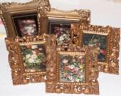 5 vintage renaissance style vintage floral prints with ornate frame