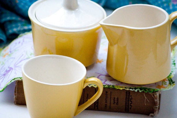 Vintage Yellow Creamer and Sugar Bowl with Matching Cup