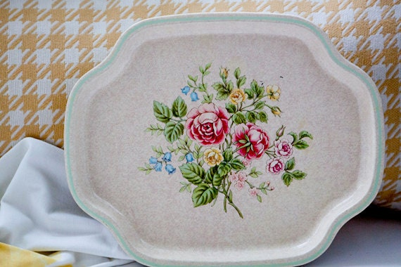 Vintage Metal Floral Serving Tray - Avon, Made in England