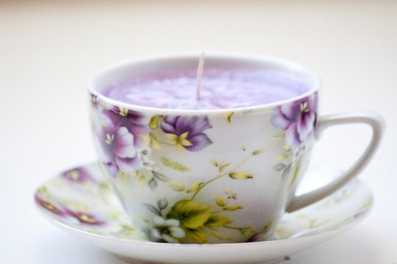Upcycled Tea Cup Candle Lilac Scented