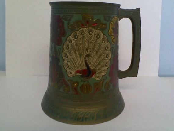 Beautiful Peacock Engraved Brass Mug Tankard Stein
