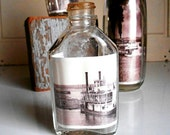 Vintage Bottle Art with Ship Photos