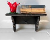 Vintage Wood Shelf Hand Painted Black Home Decor