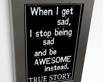 Fridge Magnet Silver Metal Frame Black and White Awesome Quote