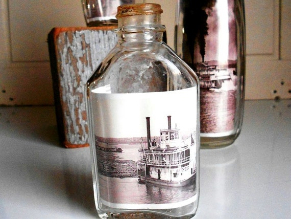 Vintage Bottle Art with Ship Photos