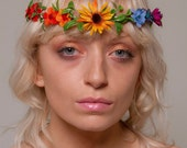 The Prism Isles Headpiece - Rainbow Flower Crown With Crystals Bridal Boho Headpiece