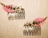 The Lady Stardust Hair Combs - pink leaves and flower hair combs