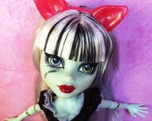 Party Pink Sparkle - Werewolf / Cat Ears Create A Monster - by Dollicious Customs Monster High