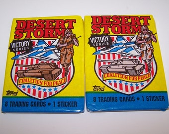 Vintage Desert Storm Trading Cards Victory Series Sealed In Wax Paper Set of Two Packs 1991 By Topps