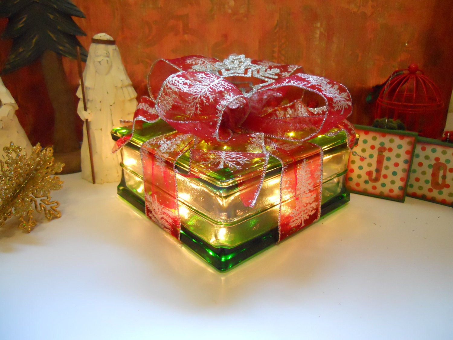 Christmas glass block light up present decoration