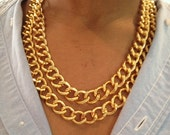 Chunky Double Gold Chain Link Necklace