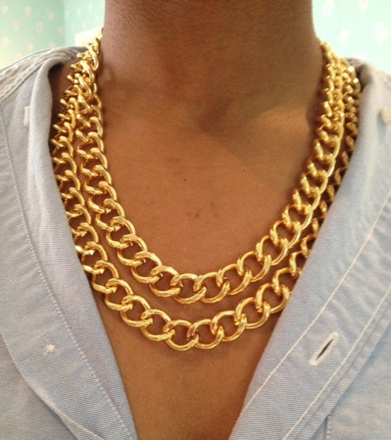 Gold statement necklace, golden bib necklace, gold chunky collar necklace by TheFashionBandits on Etsy Find this Pin and more on possible buys by Lindsay Mac. Gold bib necklace which is a truly unique and exotic necklace which is sure to turn heads!