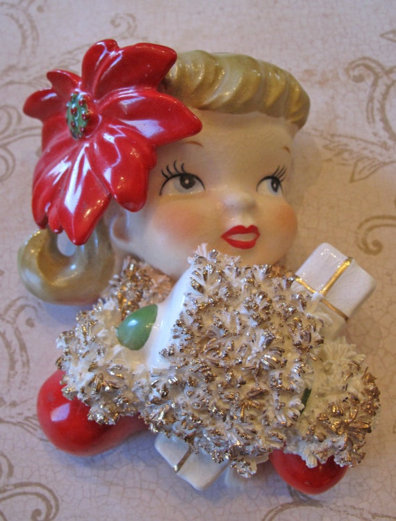 Vintage s norcrest christmas poinsetta girl wall