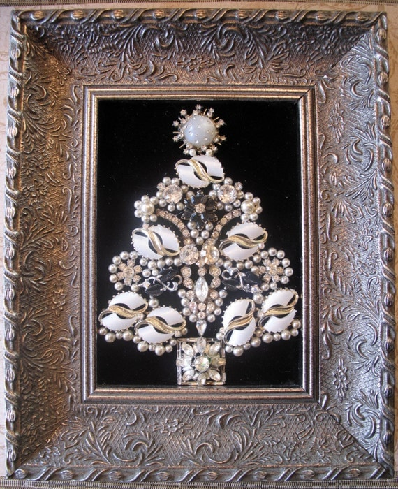 Vintage Rhinestone Costume Jewelry Repurposed Framed