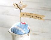 Tiny Shabby Pitcher Pin Keep Pin Cushion - A Merry Heart