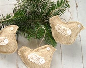 HOLIDAY SALE Burlap Dove Christmas Holiday Ornaments with Vintage Lace & Buttons - Set of 3