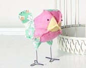 Rosalie - Pink, Yellow, Green, Orange and Purple Vintage Quilt Baby Nursery Decor Fabric Bird, Soft Sculpture, Baby Girl Nursery Decor