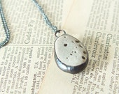 Natural Beach Stone River Rock Soldered Pebble Pendant Necklace, Metal and Stone, Summer Boho, Natural History Geology