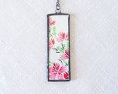 Pink Green Flower Pendant Necklace with Vintage Preppy Retro Mid Century Modern Wallpaper, Soldered Glass, Summer Jewelry, Cottage Chic