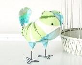 Esme - Retro Vintage Blue Aqua and Green Botanical Wedding Cake Topper Love Bird, Soft Sculpture Textile Decor, Baby Nursery, Tropical Beach