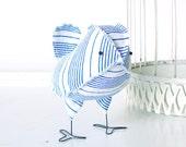 Dorian - Vintage Nautical Blue and White Stripe Wedding Cake Topper Love Bird, Soft Sculpture Textile, Baby Boy Nursery Decor, 4th of July