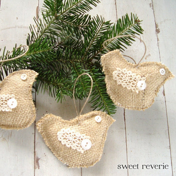 HOLIDAY SALE Burlap Dove Christmas Holiday Ornaments With