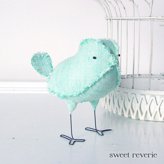 Lily the Soft Sculpture Textile Fabric Bird Softie in Soft Mint Green Vintage Fabric