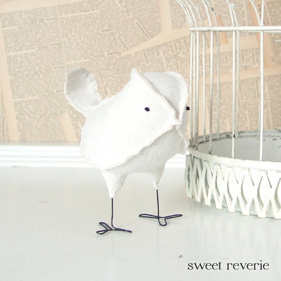 Genevieve - Vintage White Linen Ivory Wedding Cake Topper Love Bird, Soft Sculpture Textile Home Decor, Baby Shower Gift, Baby Nursery Decor