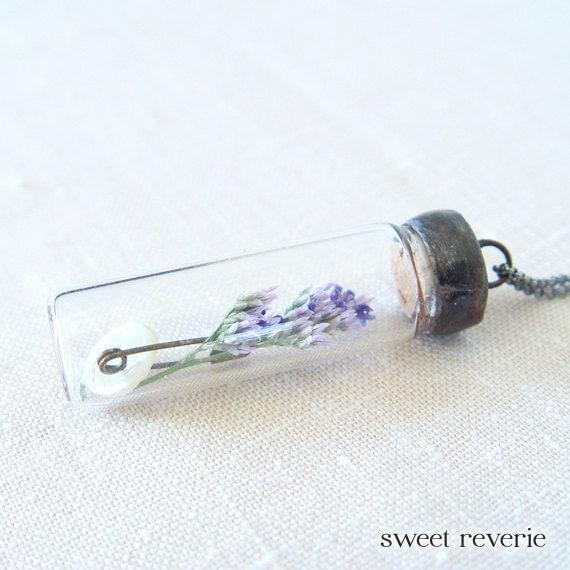 Real Flower Botanical Terrarium Glass Vial Specimen Necklace, Soldered Time Capsule Pendant, Lavender Flower, Vintage Button, Spring Summer