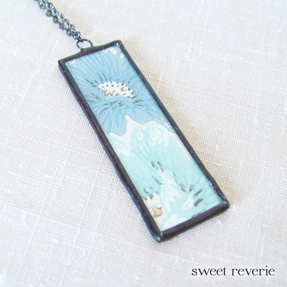 Blue Turquoise Indigo Floral Birch Bark Pendant Necklace with Vintage Retro Wallpaper, Soldered Glass, Bridesmaids, Spring Summer Jewelry