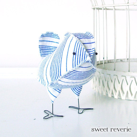 Dorian - Vintage Nautical Blue and White Stripe Wedding Cake Topper Love Bird, Soft Sculpture Textile, Baby Boy Nursery Decor, 4th of July
