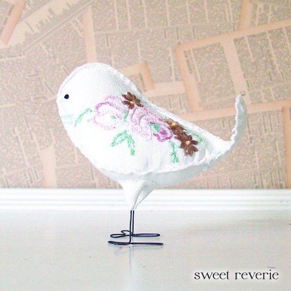 Claudia - Vintage Whimsical Floral Embroidered White Linen Cake Topper Bird, Aqua Pink Gold Green, Soft Sculpture Textile, Nursery Decor