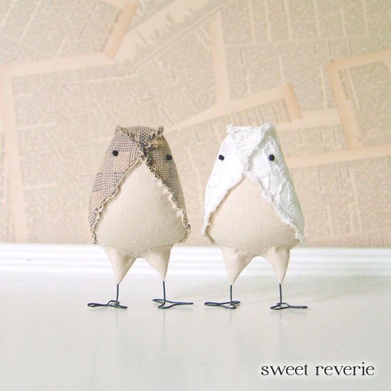Reserved for Emelia - Wedding Cake Topper - Mini Rustic Country Vintage Tan and White Lace Love Birds, Soft Sculpture - Made to Order