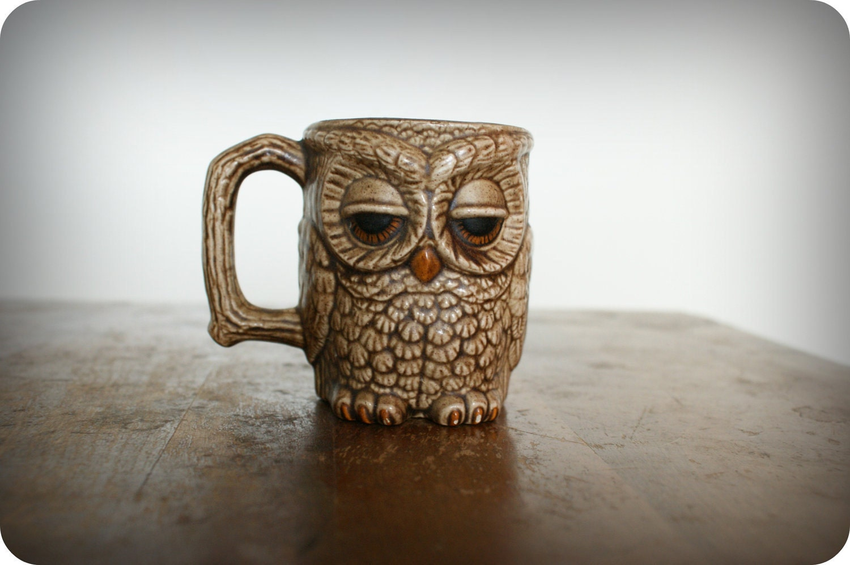 Vintage 70 S Sleepy Owl Coffee Mug Handpainted