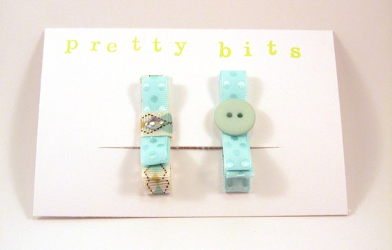 Baby-Little Girl Ribbon Hair Clips-Alligator Clips-Blues and Browns
