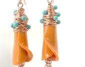 Yellow Tangerine Calla Lily Earrings, Turquoise , Flower Earrings, Wire Wrapped Earrings, Summer Earrings