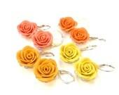 Dangle Yellow Rose Earrings, Yellow-Tangerine Rose Earrings, Coral Rose Earrings, Orange Rose Earrings, Summer Colors Jewelry