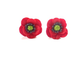 Poppy Stud Earrings, Poppy Earrings, Summer Flower Jewelry, Flower Earrings.