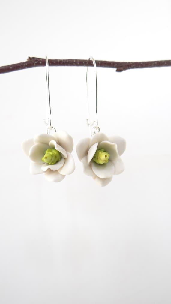 Southern Magnolia Earrings, Flower Earrings,  Summer Jewelry , Southern Wedding Jewelry