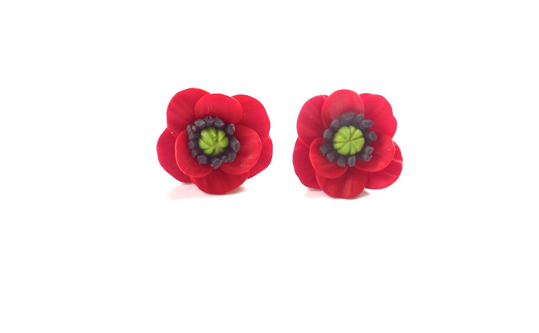 poppy stud earrings poppy earrings summer flower jewelry