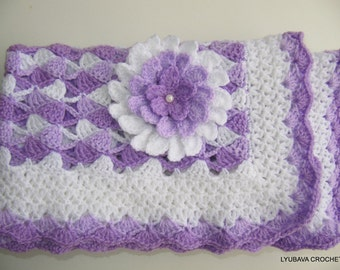 Crochet Baby Blanket PATTERN, Beautiful Lilac Baby Blanket With Flower, Baby Shower DIY Gift, Lyubava Crochet Digital Pattern PDF No.23