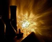 Large glass star, floor / shelf lamp