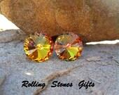 Golden Sahara 12mm Swarovski Rivoli Rhinestone Stud earrings-Special Effects Crystal Studs-Large Fall Crystal Stud Earrings