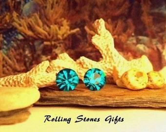 Blue Zircon 6.32mm Swarovski Round Rhinestone Stud Earrings-Blue Zircon Crystal Studs-December Birthstone Studs-Small Crystal Studs
